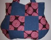 Handmade Denim Giselle Roses Pink Patchwork Purse Bag