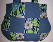 Handmade Zebra Flower Power Print Handbag Denim Purse