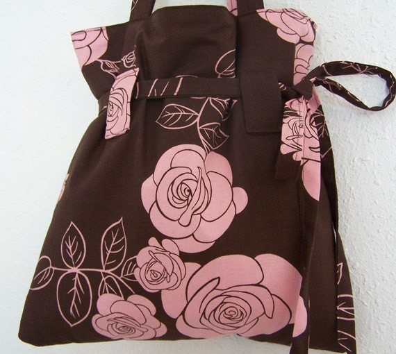 Handmade daisydenms Drawstring Purse Tote Brown Pink Roses