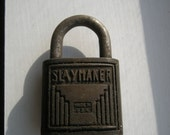 Vintage Slaymaker Padlock  with great Patina and Graphics Made in USA