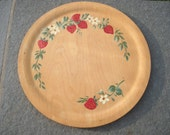 Vintage Hand Painted Strawberry Round Wooden Tray Plate Platter