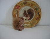 Vintage Handmade Wood Burned Wooden Squirrel Plate and a Fluffy Tail Ceramic Squirrel