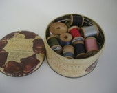 Vintage Pollywogs Chocolate Candy Tin Box Filled with Vintage Wooden Thread Spools