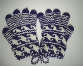 Colorful Purple and White Five Finger Gloves