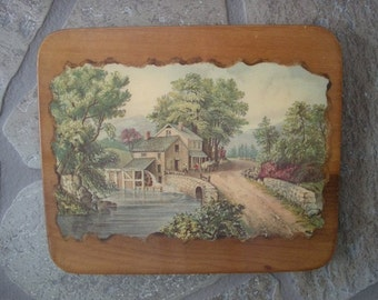 Decoupaged Landscape Vintage Wall Hnaging Plaque
