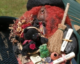 Harvest Moon Apple Witch - Wizard Folk Art Doll