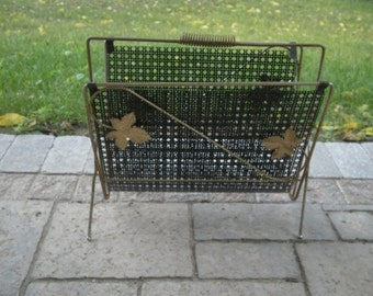 Vintage Metal 1950s 1960s Magazine Rack, Mid Century, Shabby, Funky Eames Years