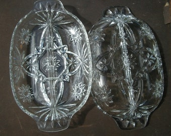 Set of 2 Vintage Divided Serving Relish Tray Dish by Anchor Hocking