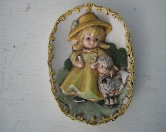 MARY had a little lamb vintage oval wall plaque