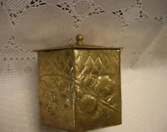 Embossed Vintage Brass Metal Tin Hexagon Shaped