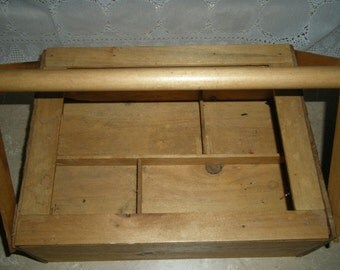 Rustic Wooden Work Tool Vintage  Box Tote Handmade with handle --great for storage