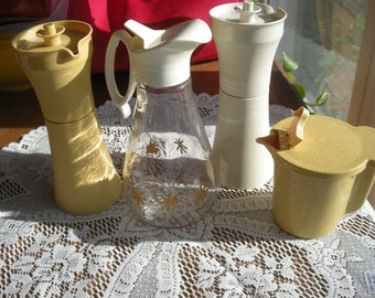 4 piece Gold and Off White Kitchen Serving Pitcher Collections