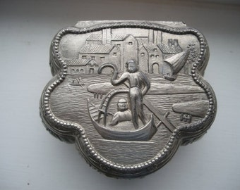 Footed Metal Vintage Trinket Box with Venetian Gondola Hinged and Red Velvet Lining