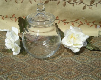 Petite Etched Apothecary Jar- Clear Glass