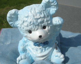 Waving blue teddy bear planter vintage baby nursery decor