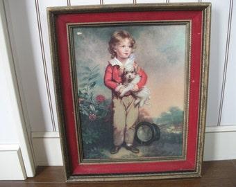 Master Simpson Lithograph in Red Velvet Wooden Frame