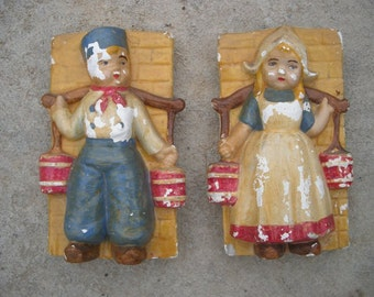 1950s Chalkware Dutch Boy and Girl Vintage Wall Hanging Decor
