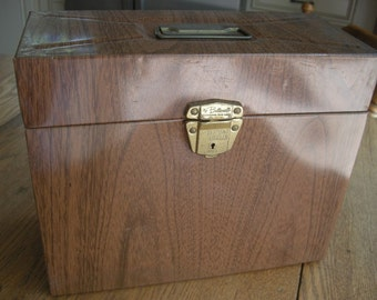 Ballonoff Vintage Metal Portable File Box with Faux Wood Grain Finish