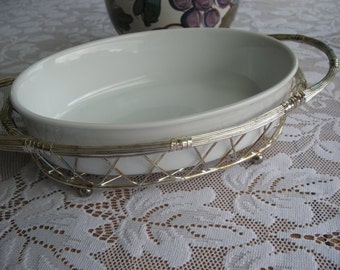 2 Pieces Wonderfully Tarnished vintage mid century silver plated wire Oval Basket Carrier with porcelain casserole dish insert