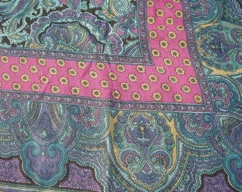 Liz Sinclair Scarf in Teal Blue Green with Paisley Print