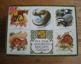 Vintage Rectangular Nabisco Tea Time Biscuit Tin with Animal Theme Lid