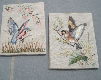 2 Vintage Hand Embroidered Crewel Work Birds Ready to Frame