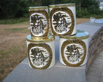 Four Piece Victorian Decor Metal Canister Set with