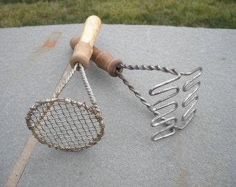 2 Primitive Kitchen Vintage Wood Handled Potato Masher