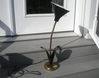 Vintage Metal Flower Lamp with long Adjustable Gooseneck