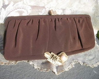 Vintage 1950s Brown Satin Ingber Classic Evening Hollywood Clutch Handbag Purse