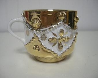 Ornate Gold Teacup with Porcelain Flowers and Decoration Vintage Hollywood Regency