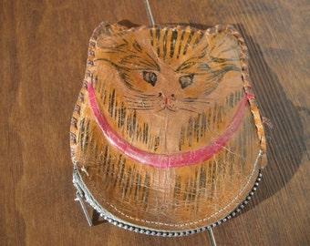 Antique Leather Cat Shape Change Purse Hand Painted Metal Zipper