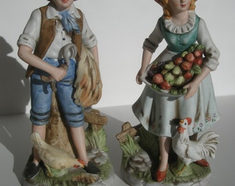 Charming Large Vintage Porcelain Man Women Farmer Figurines by Home Interiors