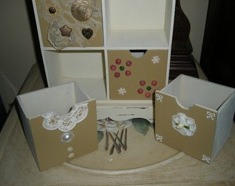 HAND decorated 4 drawer cabinet