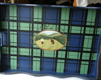Large  WOODEN Vintage  GOLF theme Serving TRAY by Jane Keltner