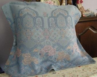 Blue linen pillow shams withsoft pink flowers set of 2
