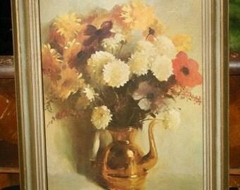 Large Shabby Sweet Coloa Sunlit Flowers Framed Litho Print