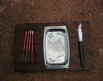 WOOD and METAL Vintage Cheese Board Set complete with knife and server sticks