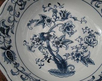 Blue and White Asian Desgn Ming Tree Design Ironstone Serving Bowl