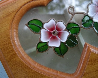 Wood and Glass Vintage Jewelry Box with Cream Interior and Double Heart Flower design