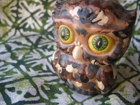 Camouflage Owl Fiqurine from 1970s