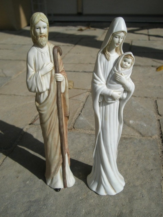 Tall Modern Mary Joseph And Baby Jesus Porcelain Figurines