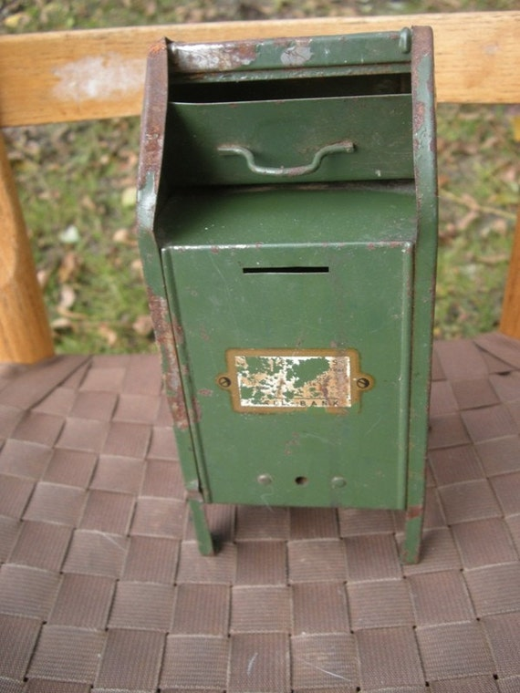 Rusty Well Worn Green Vintage Mailbox Bank
