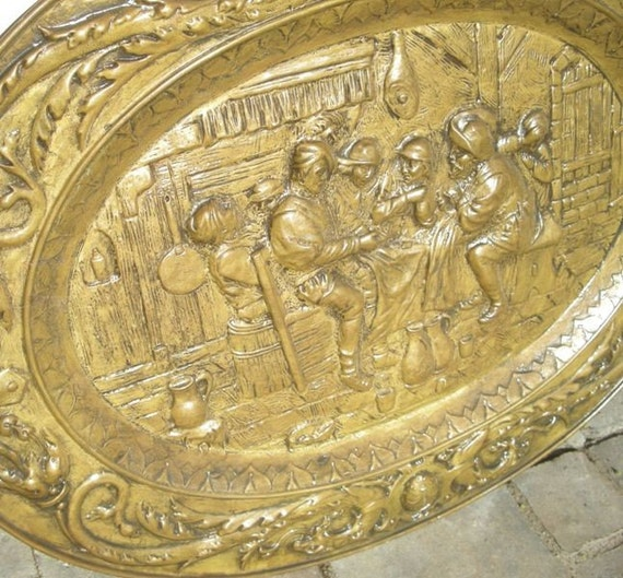 Huge Midieval Embossed Pattern BRASS Vintage Oval Tray  or GREAT Wall Display
