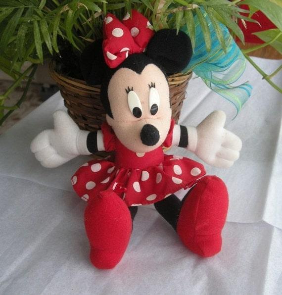 "Vintage Walt Disney Mattel 10"" Minnie Mouse plush doll toy"