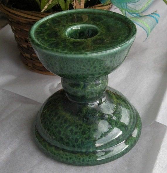 Signed GAIL PITTMAN Candleholder in Deep Green Glaze