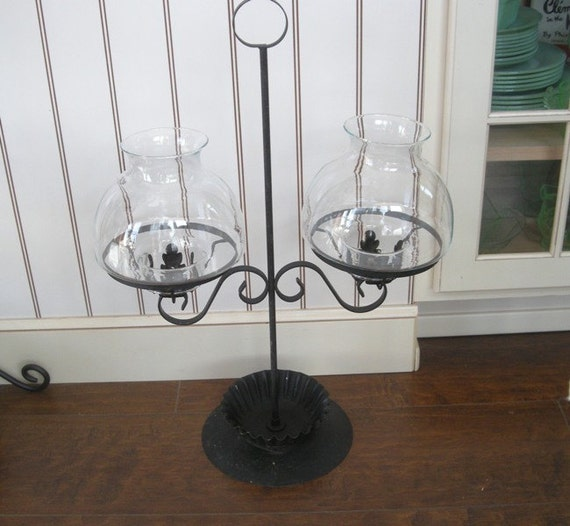 Double Arm BLACK metal candle holder with Glass Chimneys 1950s Vintage GOTHIC RUSTIC