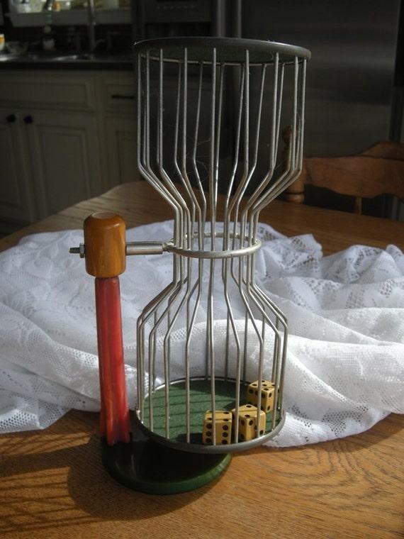 Antique Gambling Bakelite Chuck-a-Luck Bird Cage with 3 Dice