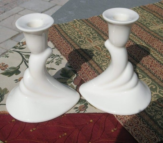 Unique Art Deco Haegar Cream Candle Stick Holders