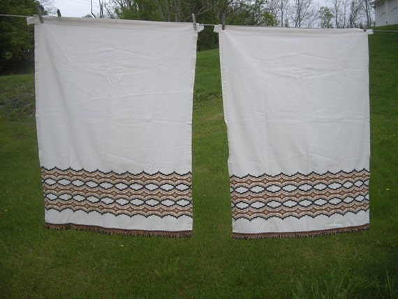 Pair of JC Penneys Vintage Curtains with brown, black and tan fringe ...